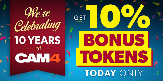 Get Bonus Tokens on CAM4 Today Only!