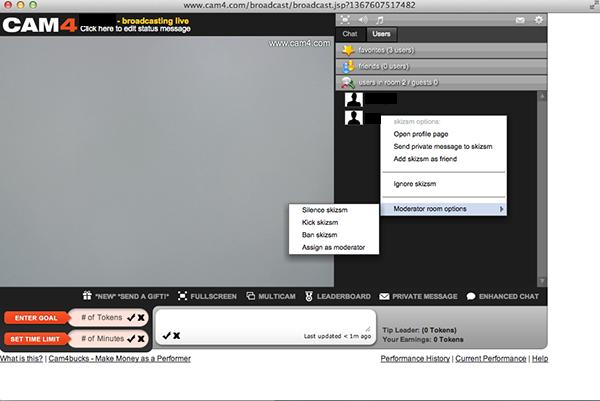 cam4 moderator tools