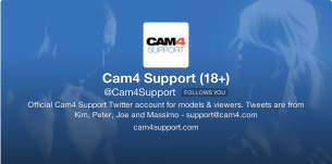 Got Questions? Follow @cam4support on Twitter!