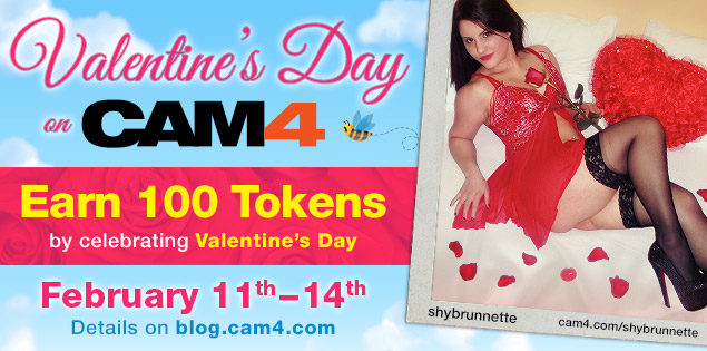 Valentine's Day Celebration on CAM4: Earn 100 Tokens!